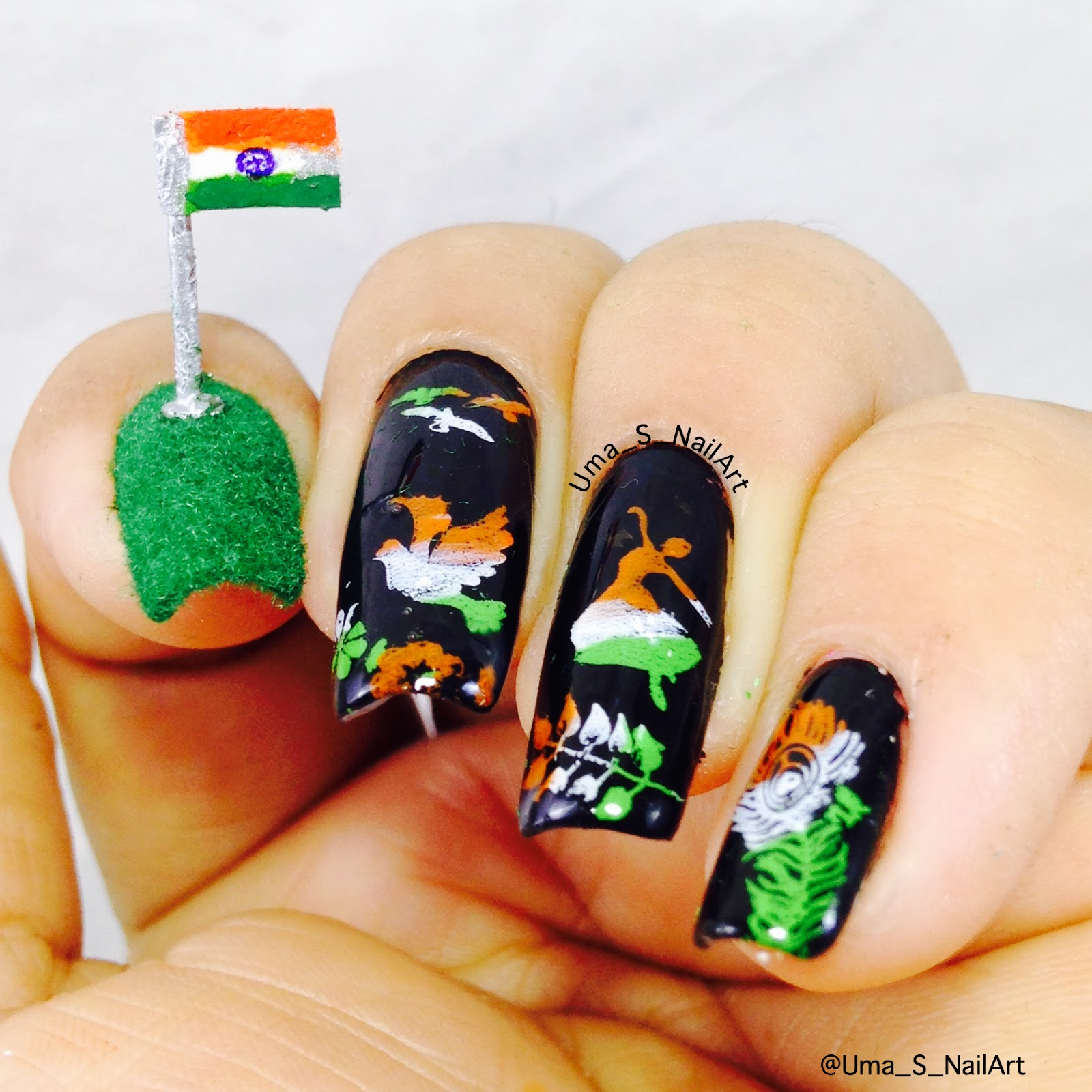 Umas nail art independence day 3d nail art fingers i have symbolized peace happiness and a peacocks feather indias national bird in tricolour gradient on black base enjoy this nail art prinsesfo Image collections