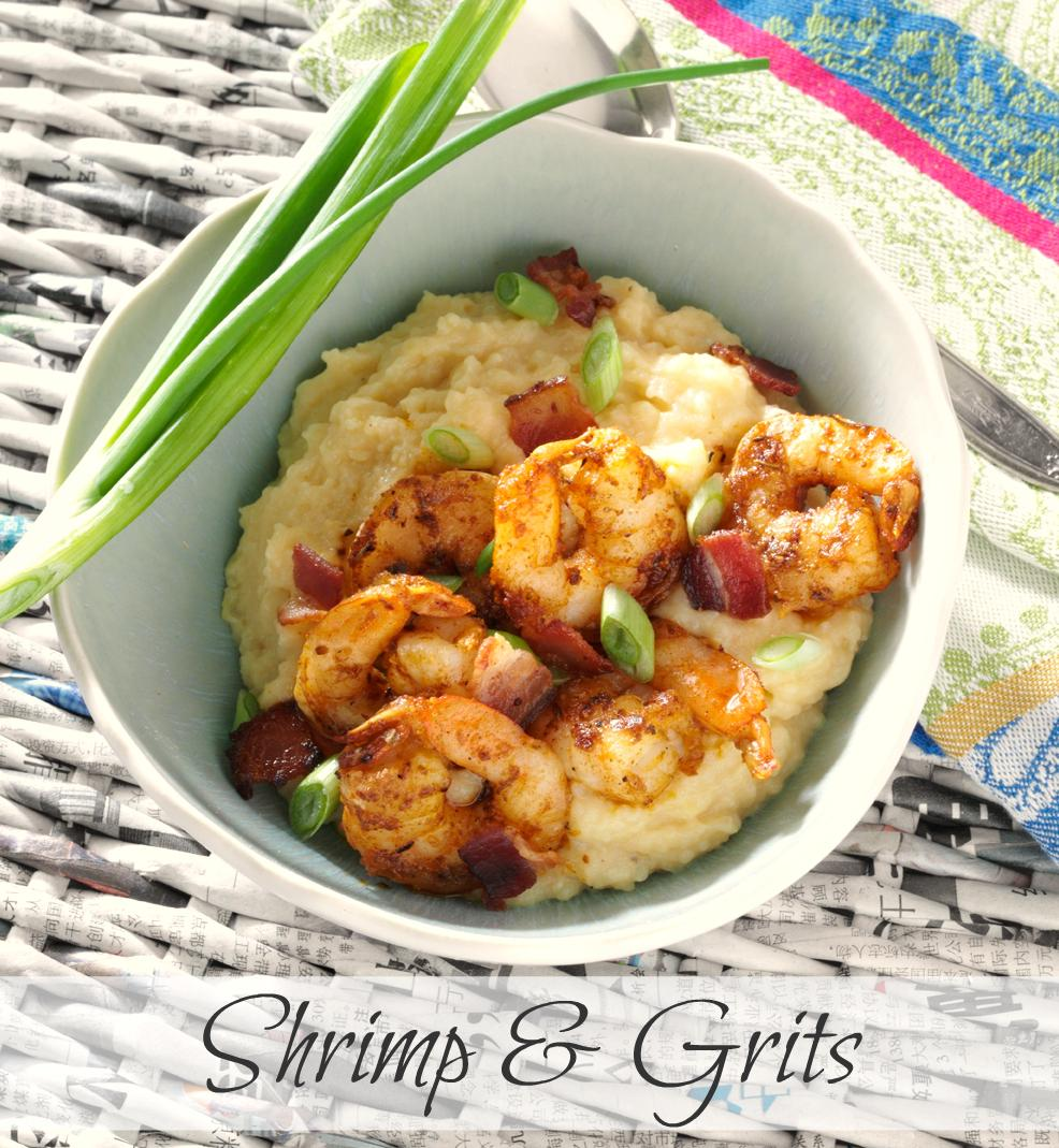 ... Shrimp & Grits recipe with blackened shrimp, bacon and cheese