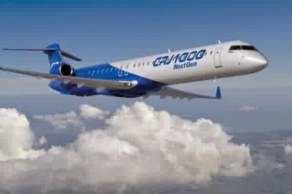 Garuda menggunakan pesawat Bombardier CJR 1000 untuk penerbangan Banyuwangi-Surabaya
