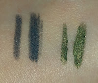 Avon Glimmerstick Eyeliner in Saturn Grey and Khaki swatches