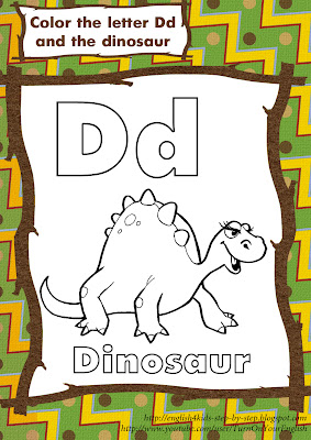 letter Dd dinosaur coloring page for learning English