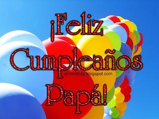 tarjeta con globos para papá en su cumpleaños