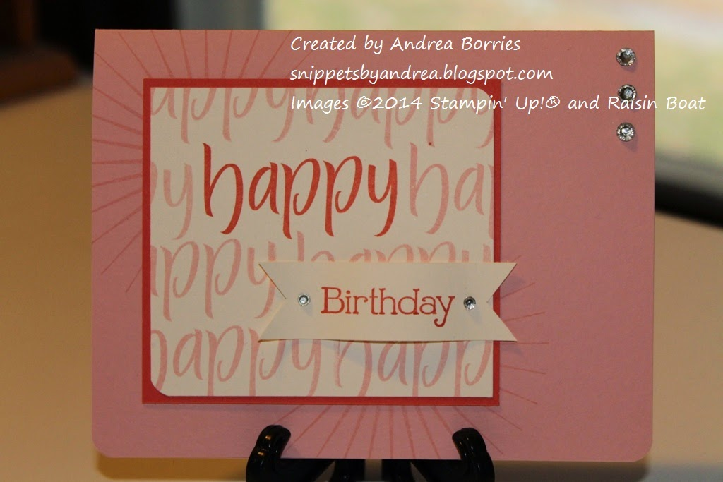 "Clean and simple birthday card with a focal image that has ""happy"" stamped repeatedly and ""birthday"" on a separate banner."