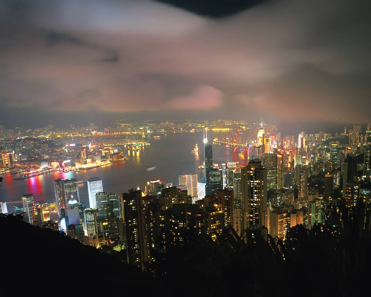 Hong Kong Night View HD desktop wallpaper High  - hong kong city nights hd wallpapers