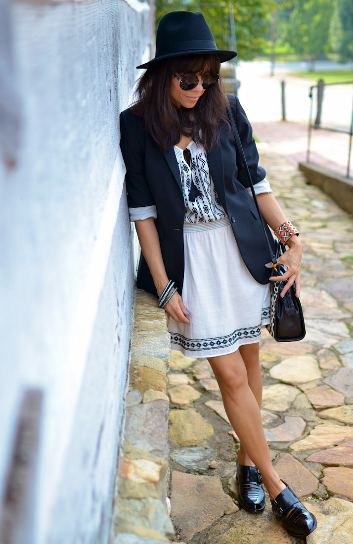 White Dress With Black Jacket
