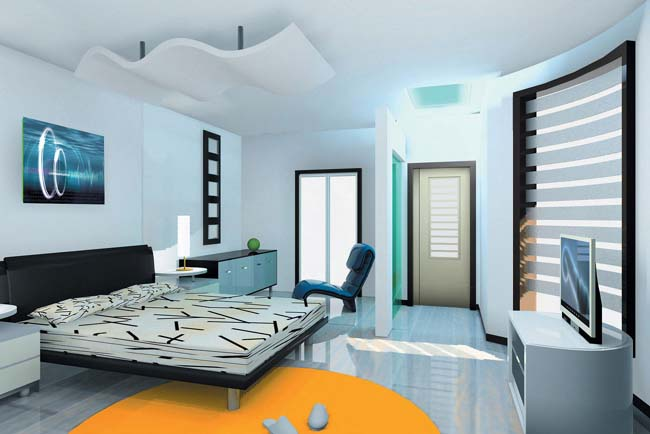Modern interior design bedroom from india for Interior design bedroom blue white