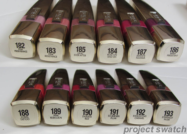 All of the L'oreal Shine Caresse shades