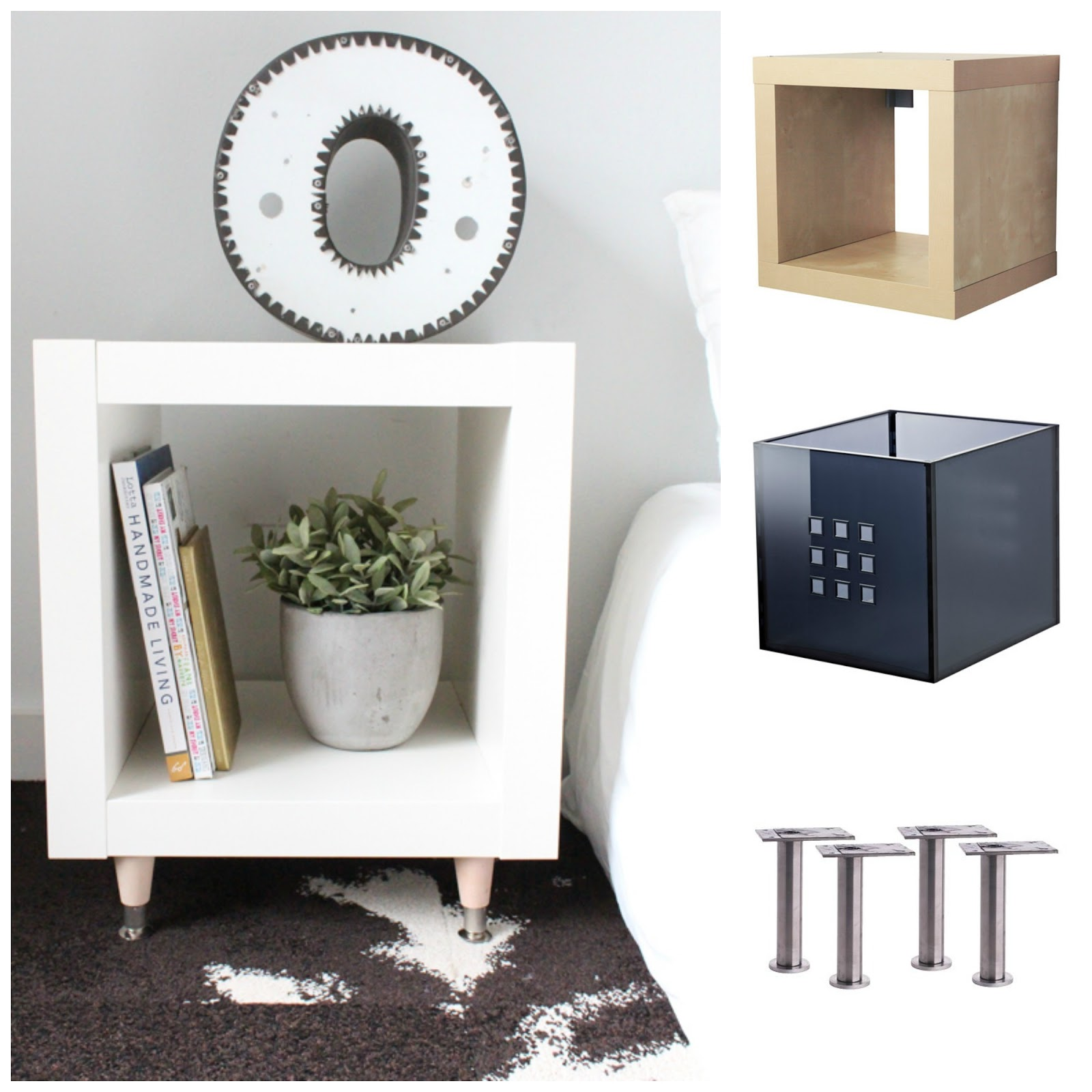 sugarpuffish expedit bedside table ikea hack. Black Bedroom Furniture Sets. Home Design Ideas