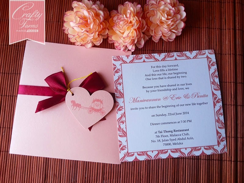 Red Damask Pocket Wedding Card with Ribbon