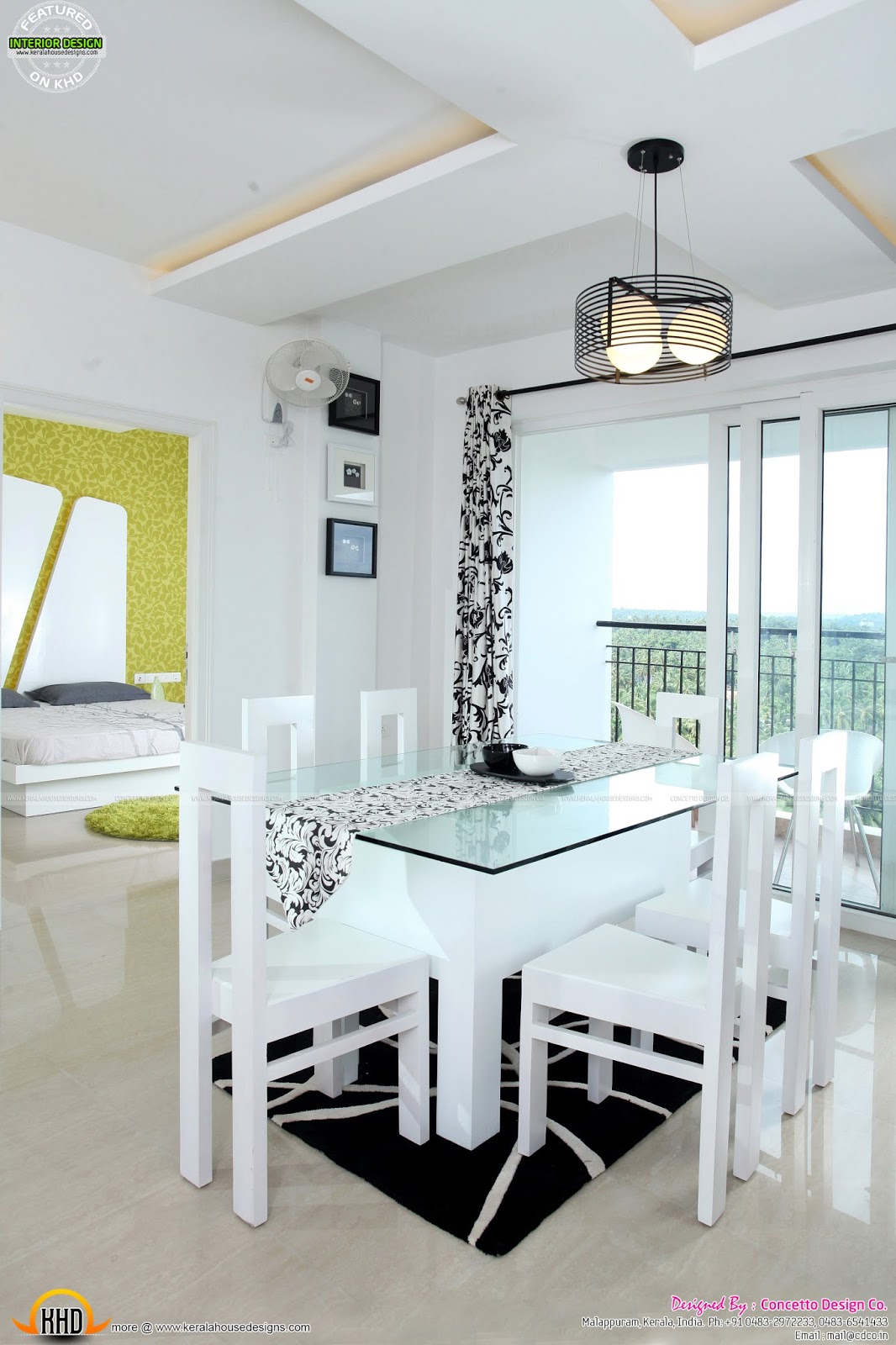 Furnished kerala interior design kerala home design and for Dining room designs in kerala