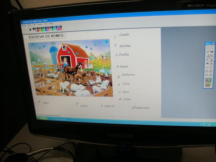 Usando o paint para construção de palavras e frases