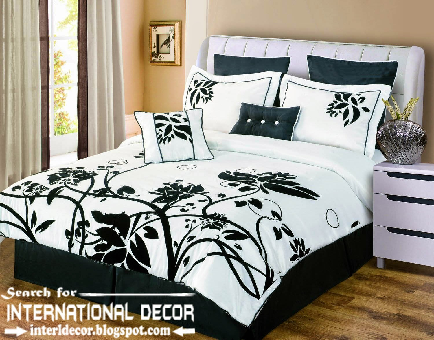 Italian bedspreads, Italian bedding sets, black and white bedspreads and bedding sets