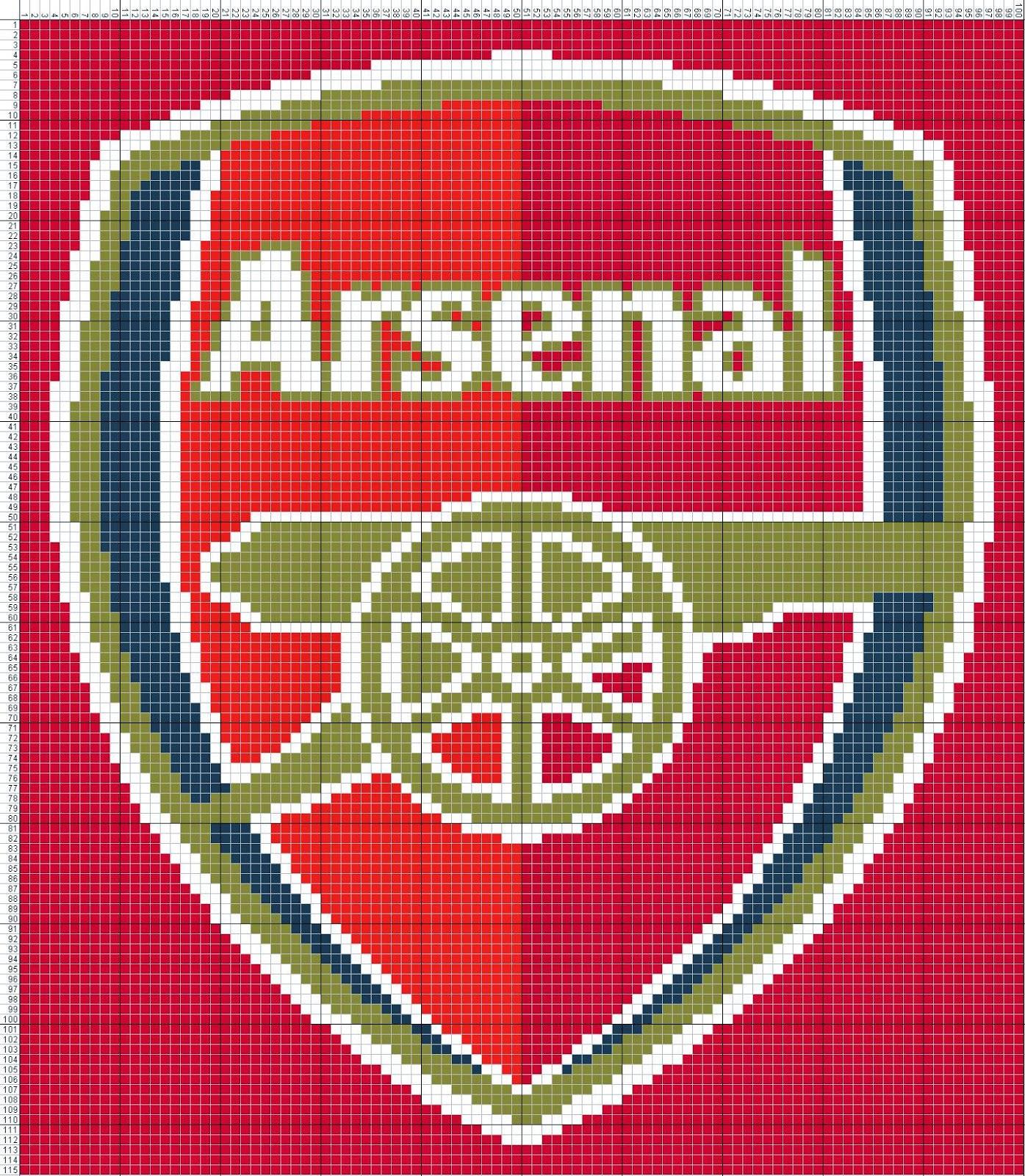 Gambar Pola Kristik Logo Arsenal FC - Inggris