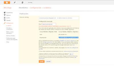 Como redireccionar un Blog de Blogger a .com con Dominiosplus paso 3
