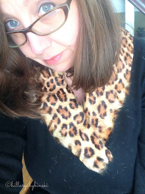 Leopard Pring Fur Collar Styled with a Black Cashmere Sweater