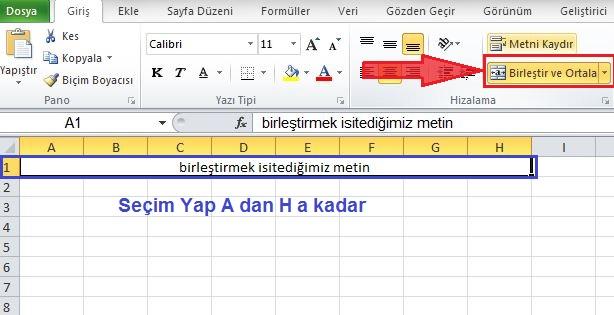 Excel birlestir ortala