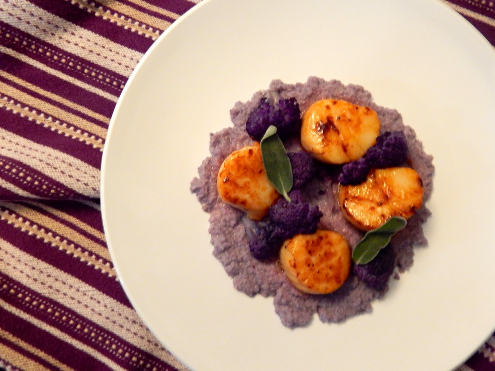 The Nerdy Chef: Scallops with Purple Cauliflower and Sage Brown Butter