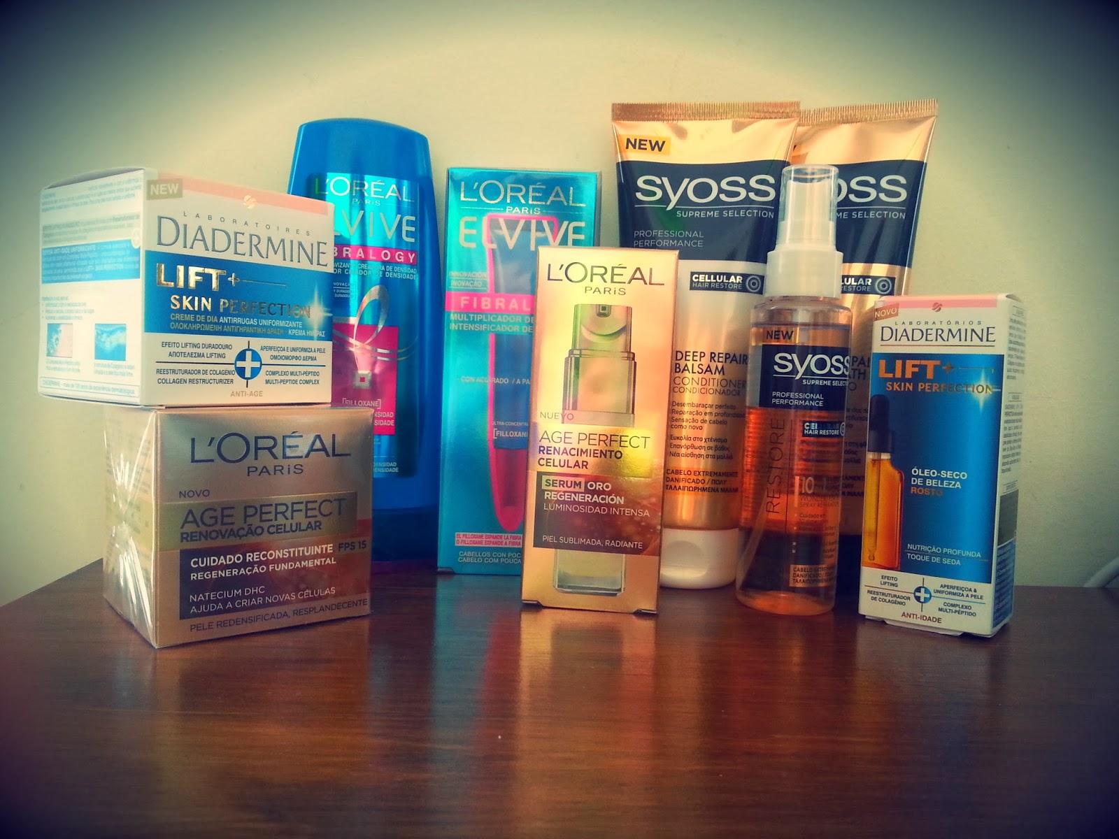 Syoss Supreme Selection L'Oréal Elvive Fibralogy Diadermine Lift+ Skin Perfection  L'Oréal Age Perfect Óleo Extraordinário + Renovação Celular