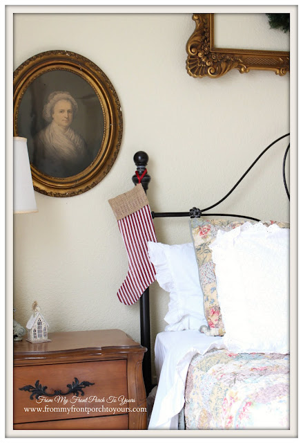 Farmhouse-Red Stripe Stockings-Christmas Guest Bedroom-From My Front Porch To Yours