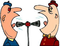 cartoon of two heads yelling into a two sided megaphone at the same time without listening