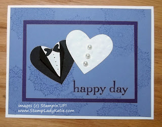 Wedding Card: Bride and Groom clothes made with a heart punch