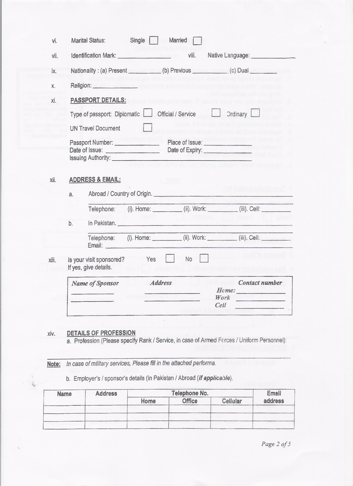 Pakistan High Commission, Singapore: VISA Requirements and Forms