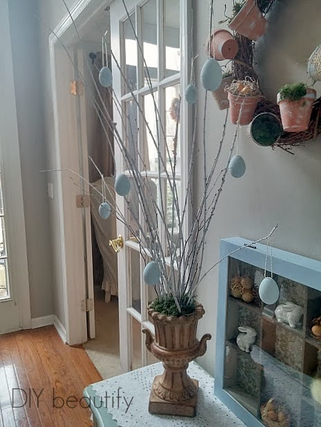 Easter Tree with Chalk Painted Eggs