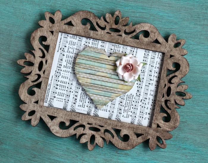 Rolled Scrap Paper Heart Art--A Scrap Busting Project! pitterandglink.com