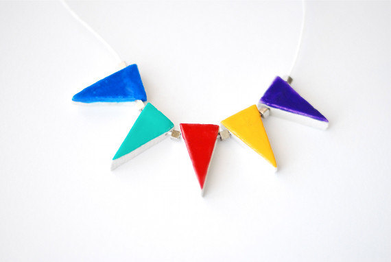 original painted flag necklace by Ines Rocio