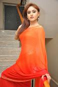 Sony Charista Glamorous in Saffron saree-thumbnail-9