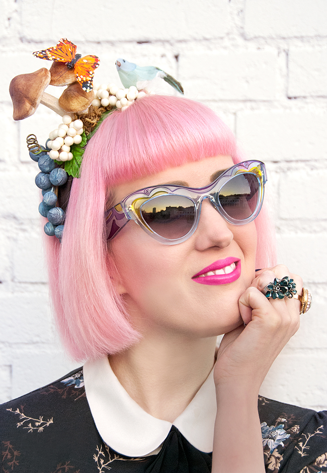 jazzafine, mushroom fascinator, miu miu sunglasses