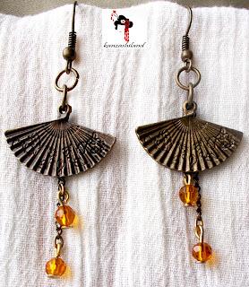 kanzashiland pendientes abanicos bronce