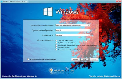 Installer Windows 8 Transformation pack 4.0 sur Windows XP