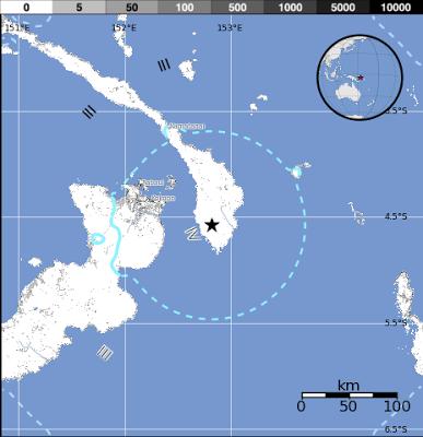 Epicentro sismo 5,7 grados en Papua Nueva Guinea, 15 de Mayo de 2013