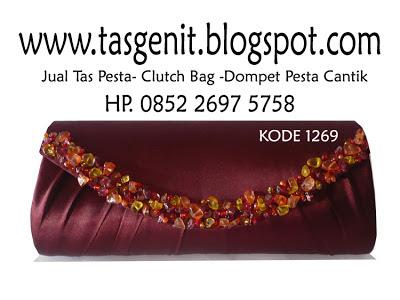 jual tas pesta, jual clutch bag merah marun