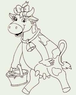 vaca com balde de leite