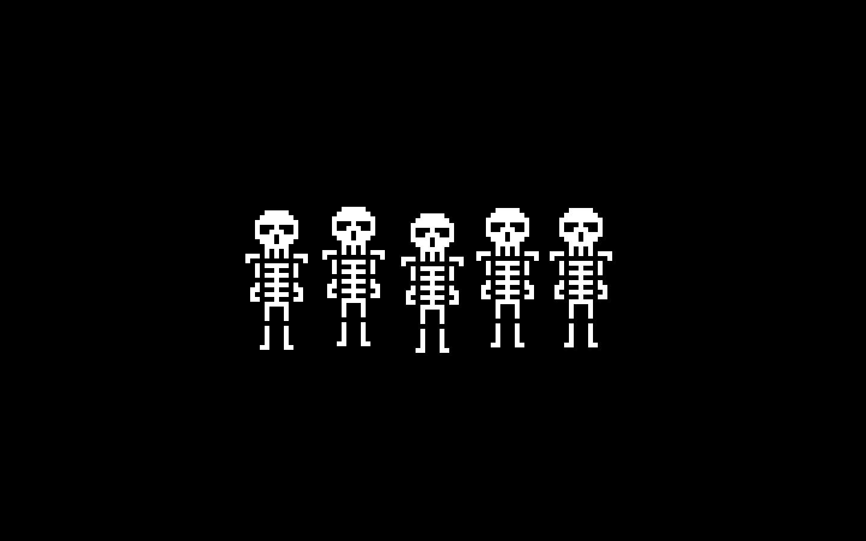 8-Bit Skeleton Wallpaper