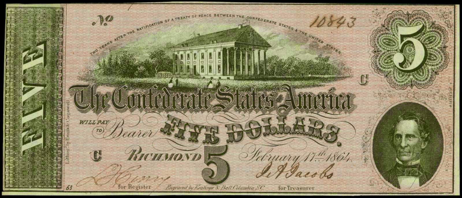 Confederate Money 5 Dollar Bill Civil War Note