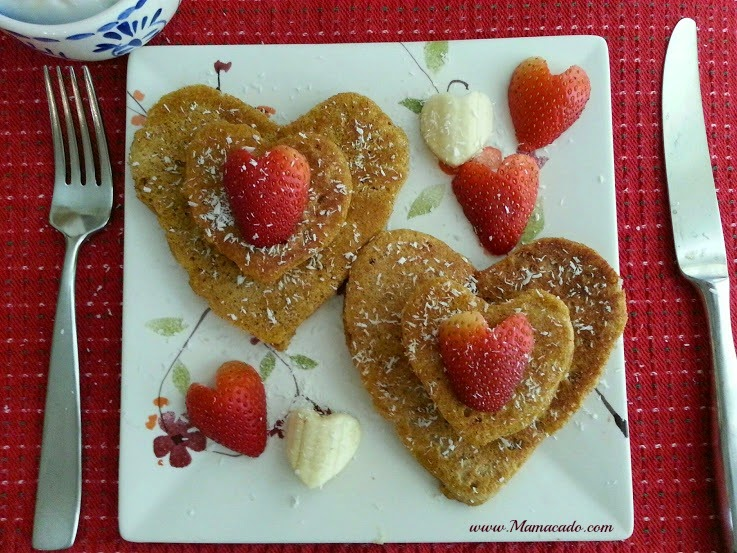 Tinfoil heart mold for pancakes