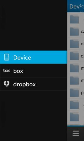 El Administrador de archivos en BlackBerry 10 te permite un acceso completo a tus archivos en una memoria externa e interna, también visualizar los archivos que ya se hayan sincronizado con la cuenta de Dropbox. Se combina almacenamiento fuera de línea y en línea, Puedes llevar tus archivos de Dropbox a donde quiera que vayas sin necesidad de una PC. También puede comprimir y descomprimir los archivos y carpetas sin tener que instalar las aplicaciones de un tercero. Aquí te dejamos algunas de la imágenes de la aplicación, Para ampliar la imágenes solo debes hacer click en ellas: Fuente:mundoberry