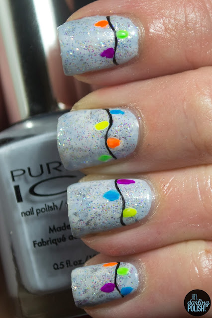 nails, nail art, nail polish, christmas lights, neon, hey darling polish, winter, winter nails