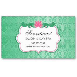 Business card showcase by socialite designs elegant salon business this lovely design has a pink lotus flower and flourishes along with a mint background pattern that looks like it shimmersis elegant business card could colourmoves
