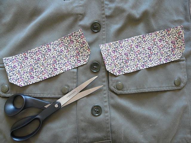 Appliquer le tissus sur le rabat des poches