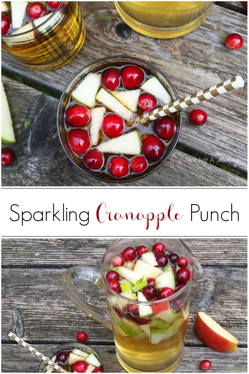 Sparkling Cranapple Punch; an easy punch for the holidays with only 3 ingredients
