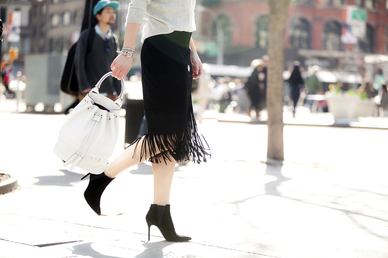 ASOS suede fringe skirt, Stuart Weitzman suede booties, Luana ITaly white leather Theo bucket bag