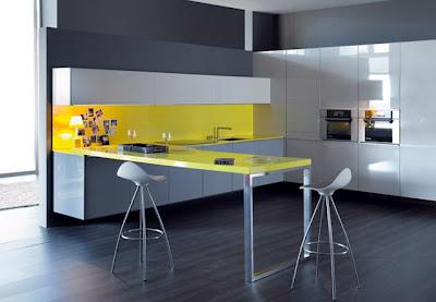 diseño de cocina en amarillo  y gris