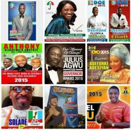 posters of Nigerian celebrities who are now politicians
