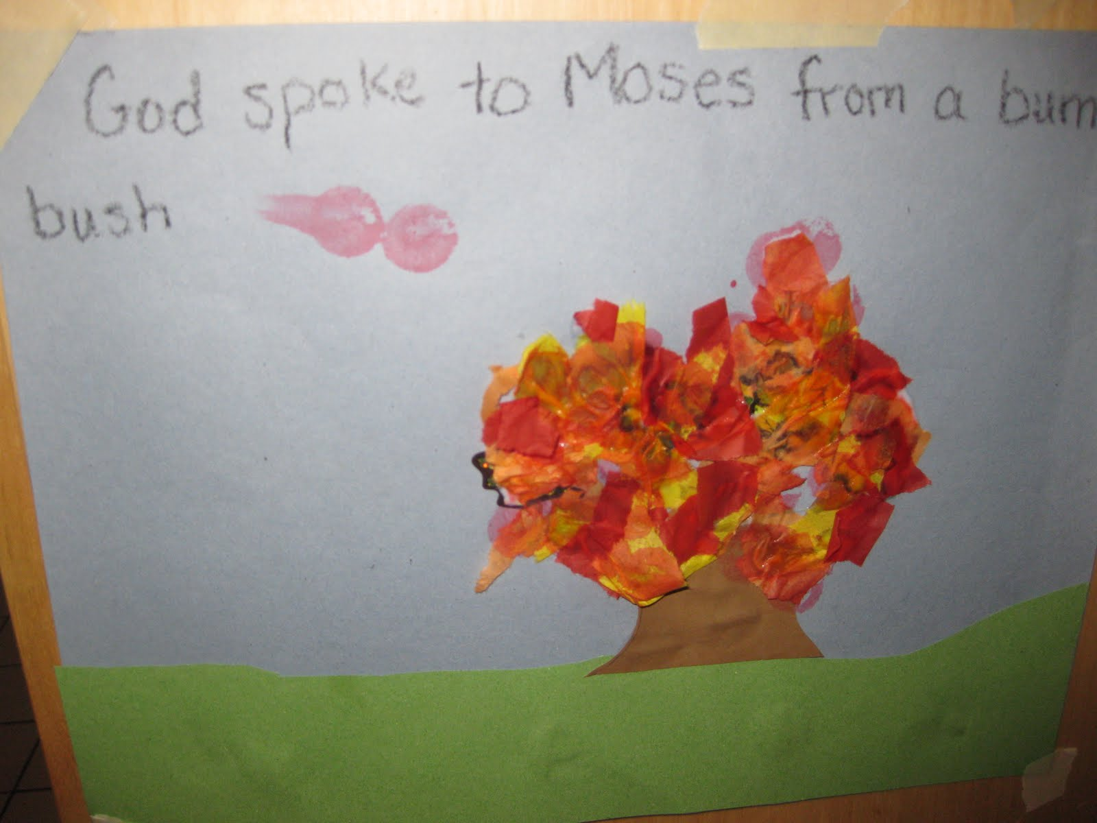 about using glue and stickers  so this craft was right up his alleyMoses Burning Bush Craft