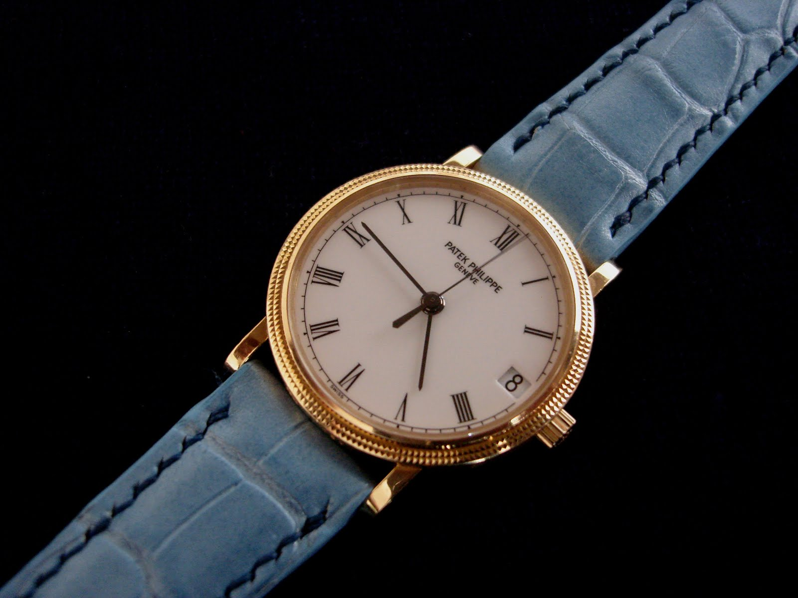 Patek Philipee Calatrava on Baby Blue Pearl Alligator