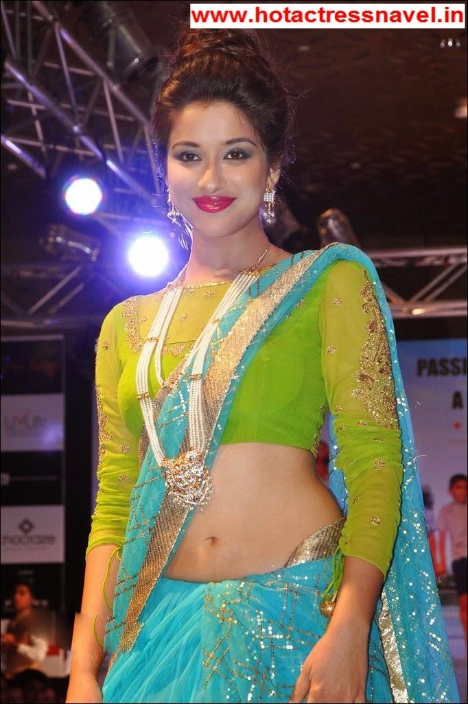 Madhurima Hot Navel Show in Blue Sari In Ramp Walk